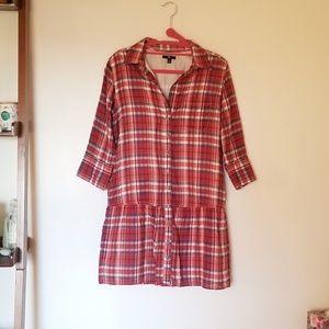 Gap plaid buttondown shirt dress
